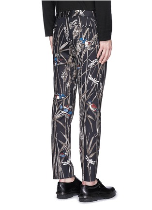 Back View - Click To Enlarge - Dolce & Gabbana - Bird and bamboo print cotton twill pants