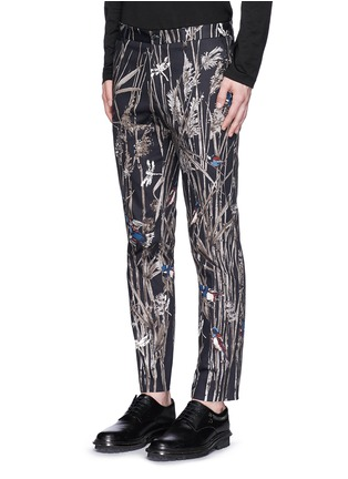 Front View - Click To Enlarge - Dolce & Gabbana - Bird and bamboo print cotton twill pants