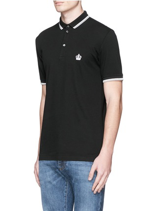 Front View - Click To Enlarge - Dolce & Gabbana - Crown embroidery polo shirt