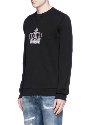 Front View - Click To Enlarge - Dolce & Gabbana - Crown embroidery cotton sweatshirt