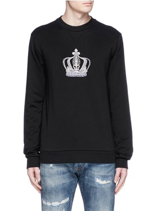 Main View - Click To Enlarge - Dolce & Gabbana - Crown embroidery cotton sweatshirt