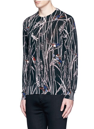Front View - Click To Enlarge - Dolce & Gabbana - Bird and bamboo print silk sweater