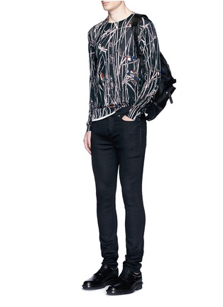 Figure View - Click To Enlarge - Dolce & Gabbana - Bird and bamboo print silk sweater