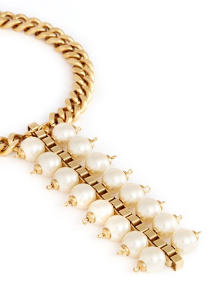 Detail View - Click To Enlarge - Ela Stone - 'Celia' box chain pearl necklace