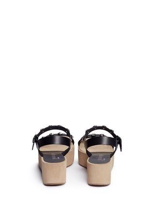 Back View - Click To Enlarge - Pedro García - 'Nagore' crystal suede wedge leather sandals