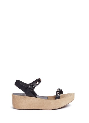 Main View - Click To Enlarge - Pedro García - 'Nagore' crystal suede wedge leather sandals