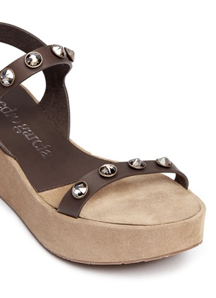 Detail View - Click To Enlarge - Pedro García - 'Nagore' crystal suede wedge leather sandals