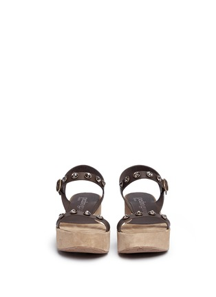 Front View - Click To Enlarge - Pedro García - 'Nagore' crystal suede wedge leather sandals