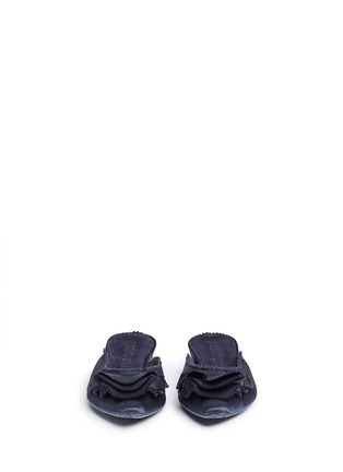 Front View - Click To Enlarge - Pedro García - 'Alia' ruffled satin slippers