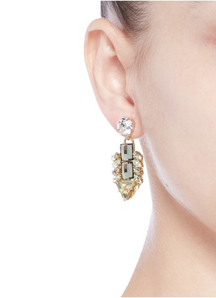 Figure View - Click To Enlarge - Anton Heunis - 'Double Pixel' Swarovski crystal drop earrings