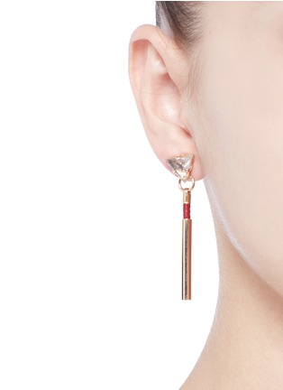 Figure View - Click To Enlarge - Anton Heunis - 'Dainty Drop' vintage glass stone leather cord earrings