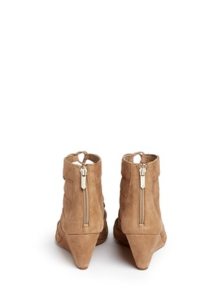 Back View - Click To Enlarge - SAM EDELMAN - 'Santina' caged lace-up suede wedge sandals