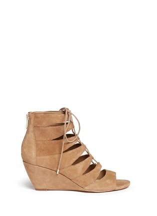Main View - Click To Enlarge - SAM EDELMAN - 'Santina' caged lace-up suede wedge sandals