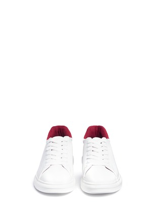 Front View - Click To Enlarge - Pedder Red - 'Lory' colourblock croc embossed heel leather sneakers