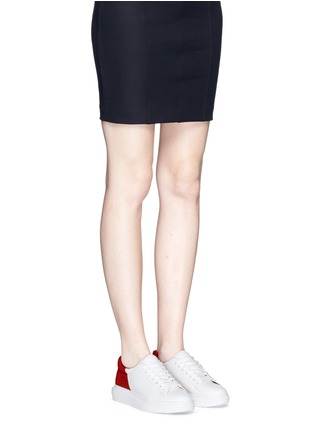 Figure View - Click To Enlarge - Pedder Red - 'Lory' colourblock croc embossed heel leather sneakers
