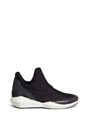 Main View - Click To Enlarge - Ash - 'Quid' geometric sole quilted neoprene sneakers