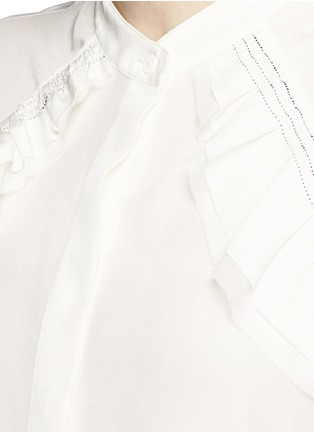 Detail View - Click To Enlarge - 3.1 Phillip Lim - Quilted ruffle trim silk shirt