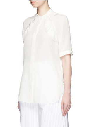 Front View - Click To Enlarge - 3.1 Phillip Lim - Quilted ruffle trim silk shirt