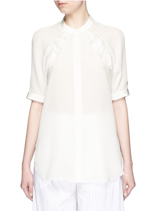 Main View - Click To Enlarge - 3.1 Phillip Lim - Quilted ruffle trim silk shirt