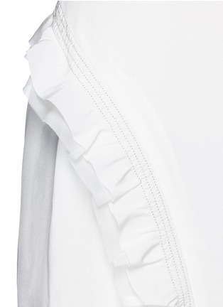 Detail View - Click To Enlarge - 3.1 Phillip Lim - Quilted ruffle trim sleeveless silk dress