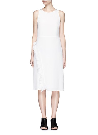 Main View - Click To Enlarge - 3.1 Phillip Lim - Quilted ruffle trim sleeveless silk dress