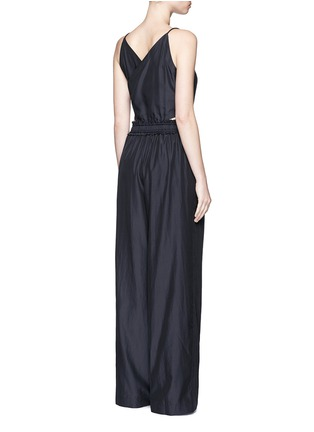 Back View - Click To Enlarge - 3.1 Phillip Lim - Paperbag waist silk-cotton tank jumpsuit