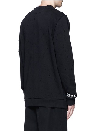 Back View - Click To Enlarge - Givenchy - Jesus patch distressed cotton sweatshirt