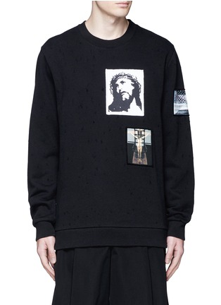 Main View - Click To Enlarge - Givenchy - Jesus patch distressed cotton sweatshirt
