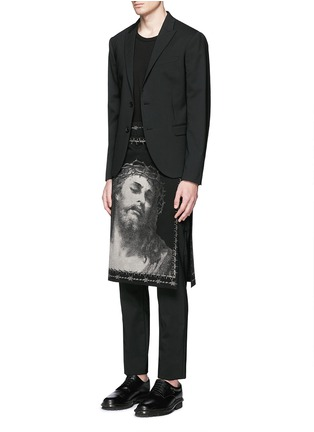 Figure View - Click To Enlarge - Givenchy - Barb wire Jesus print skirt