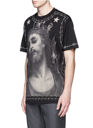 Front View - Click To Enlarge - GIVENCHY - Barb wire Jesus print T-shirt