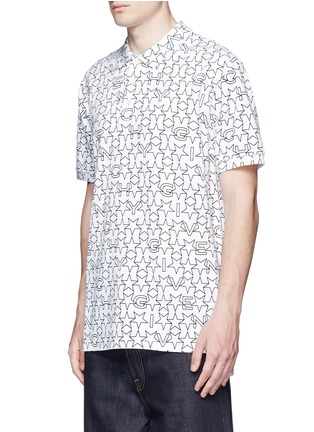 Front View - Click To Enlarge - Givenchy - Monogram print cotton polo shirt