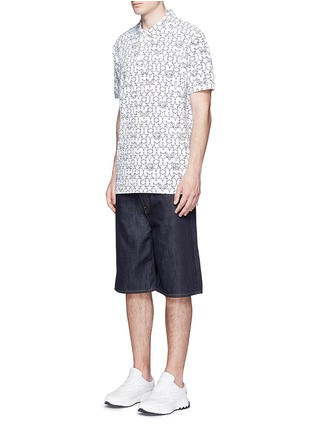 Figure View - Click To Enlarge - Givenchy - Monogram print cotton polo shirt