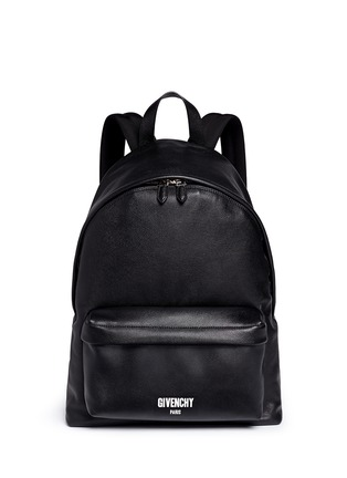Main View - Click To Enlarge - Givenchy - Logo print leather backpack