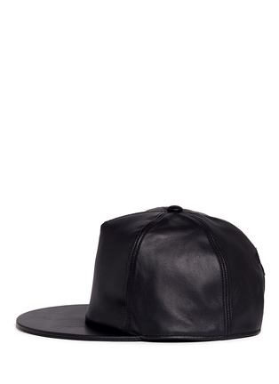 Figure View - Click To Enlarge - Givenchy - Logo embroidery leather snapback cap