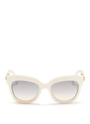 Main View - Click To Enlarge - Valentino - 'Rockstud' chunky cat eye frame acetate sunglasses