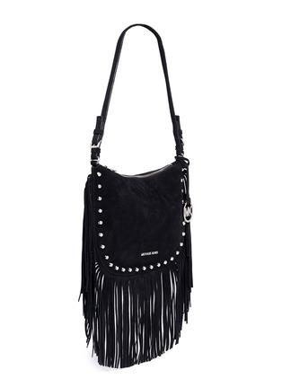Front View - Click To Enlarge - MICHAEL KORS - 'Billy' medium suede fringe shoulder bag