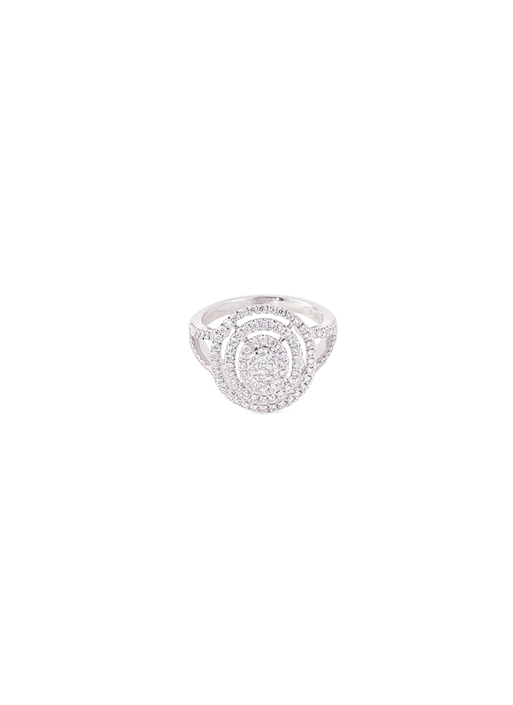 Diamond 18k gold circular cutout ring