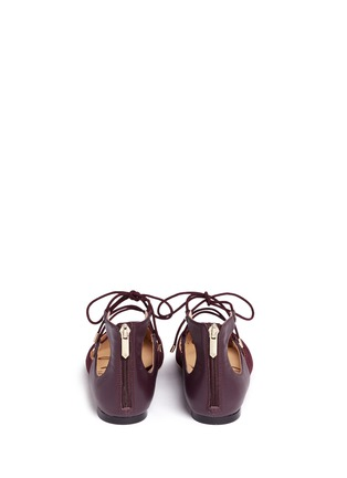 Back View - Click To Enlarge - Sam Edelman - 'Rosie' lace-up suede skimmer flats