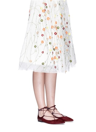 Figure View - Click To Enlarge - Sam Edelman - 'Rosie' lace-up suede skimmer flats