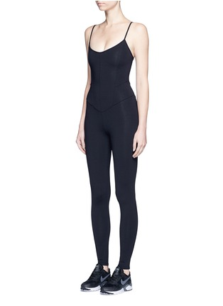 Front View - Click To Enlarge - LIVE THE PROCESS - Jersey camisole corset unitard jumpsuit