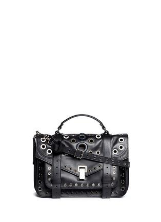 Main View - Click To Enlarge - Proenza Schouler - 'PS1' medium variegated grommet leather satchel