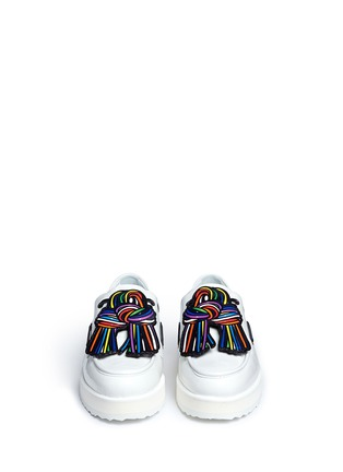 Front View - Click To Enlarge - Pierre Hardy - Knot print patent leather platform loafers