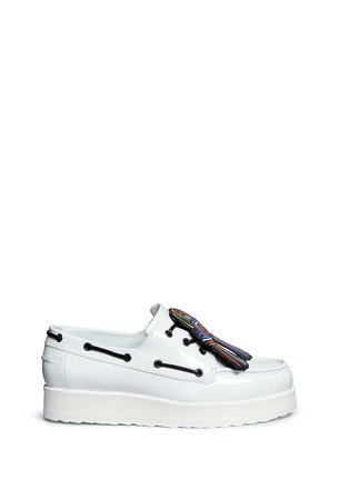 Main View - Click To Enlarge - Pierre Hardy - Knot print patent leather platform loafers