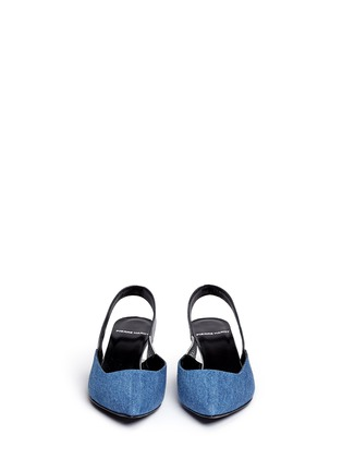 Front View - Click To Enlarge - Pierre Hardy - Denim vamp metallic leather slingback pumps
