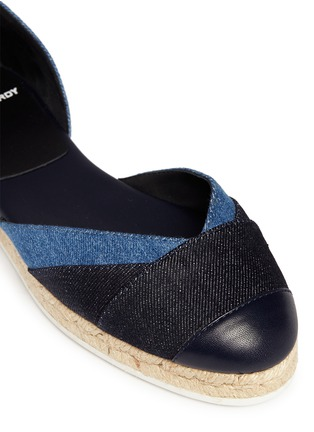 Detail View - Click To Enlarge - Pierre Hardy - Ribbon tie panelled denim espadrilles