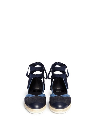 Front View - Click To Enlarge - Pierre Hardy - Ribbon tie panelled denim espadrilles