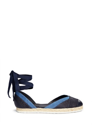 Main View - Click To Enlarge - Pierre Hardy - Ribbon tie panelled denim espadrilles