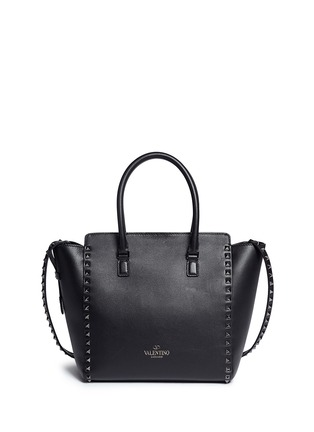Front View - Click To Enlarge - Valentino - 'Rockstud' medium leather zip tote