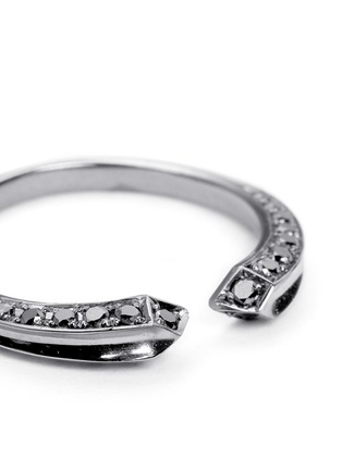 Detail View - Click To Enlarge - Core Jewels - 'Crious' black diamond ruthenium plated 18k gold midi ring