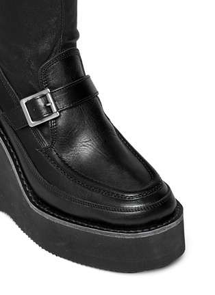 Detail View - Click To Enlarge - SACAI - Thigh high leather loafer wedge boots